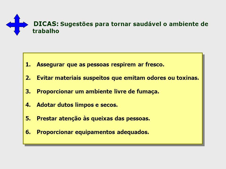 DICAS: Sugestões para tornar saudável o ambiente de trabalho 1.Assegurar que as pessoas respirem ar fresco. 2.Evitar materiais suspeitos que emitam od