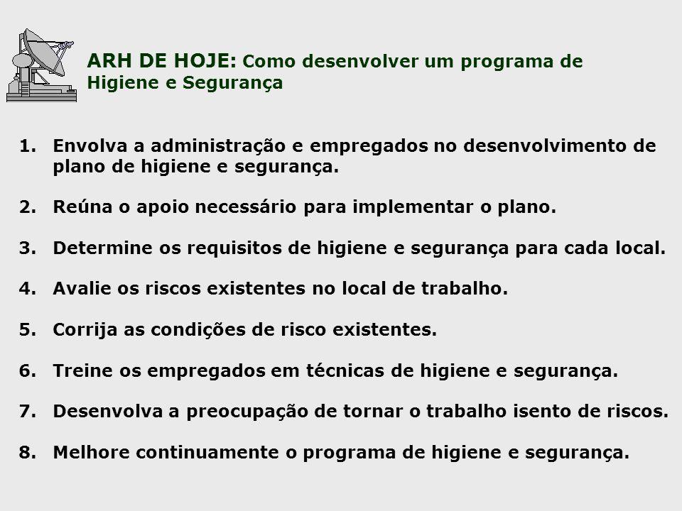 ARH DE HOJE: Como desenvolver um programa de Higiene e Segurança 1.Envolva a administração e empregados no desenvolvimento de plano de higiene e segur