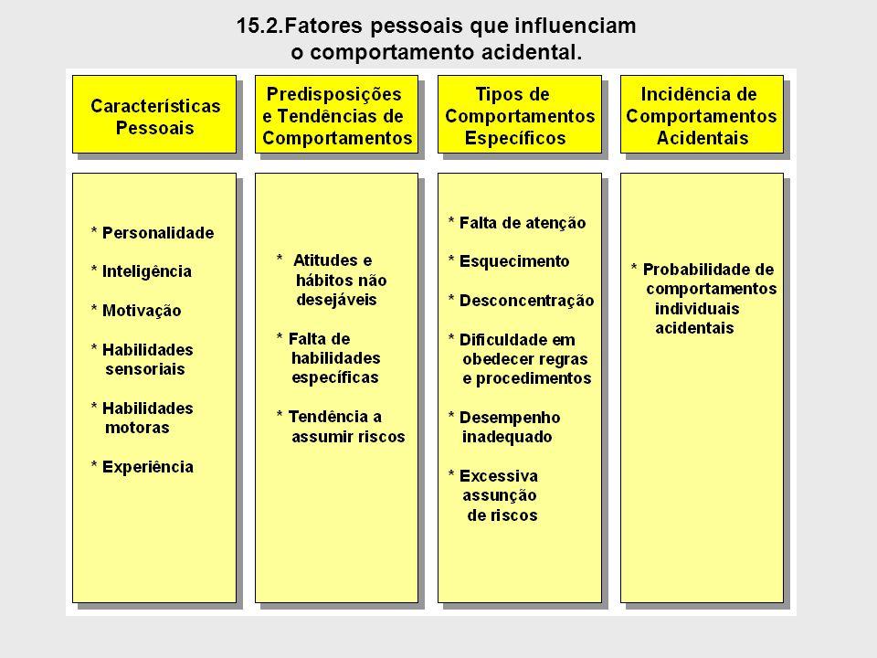 15.2.Fatores pessoais que influenciam o comportamento acidental.