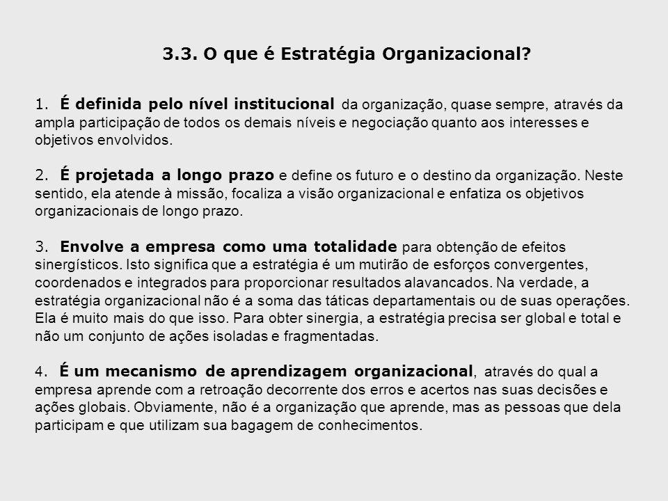 3.3. O que é Estratégia Organizacional? 1. É definida pelo nível institucional da organização, quase sempre, através da ampla participação de todos os