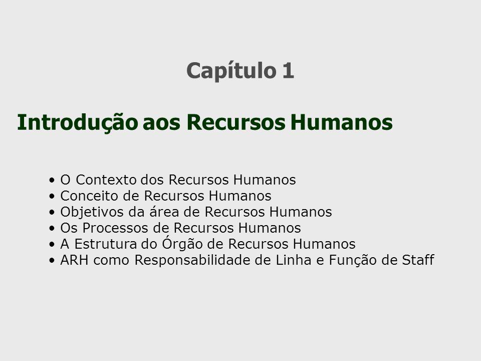 Capítulo 1 Introdução aos Recursos Humanos O Contexto dos Recursos Humanos Conceito de Recursos Humanos Objetivos da área de Recursos Humanos Os Proce