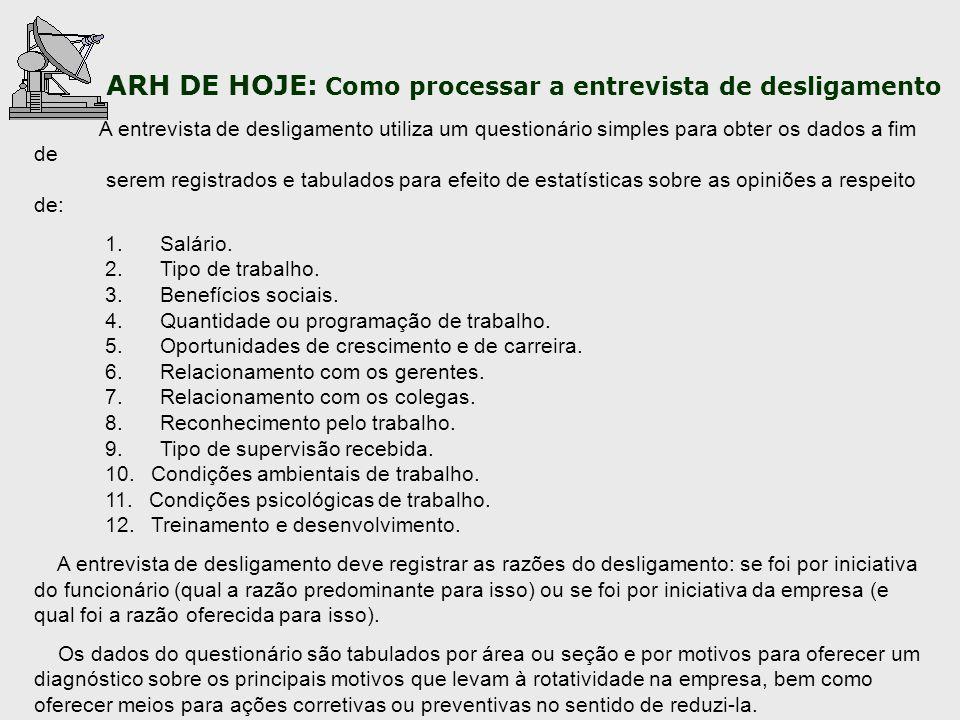 ARH DE HOJE: Como processar a entrevista de desligamento A entrevista de desligamento utiliza um questionário simples para obter os dados a fim de ser