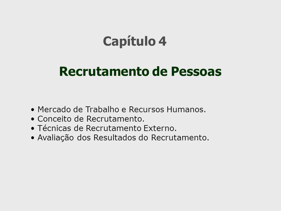 Capítulo 4 Recrutamento de Pessoas Mercado de Trabalho e Recursos Humanos. Conceito de Recrutamento. Técnicas de Recrutamento Externo. Avaliação dos R