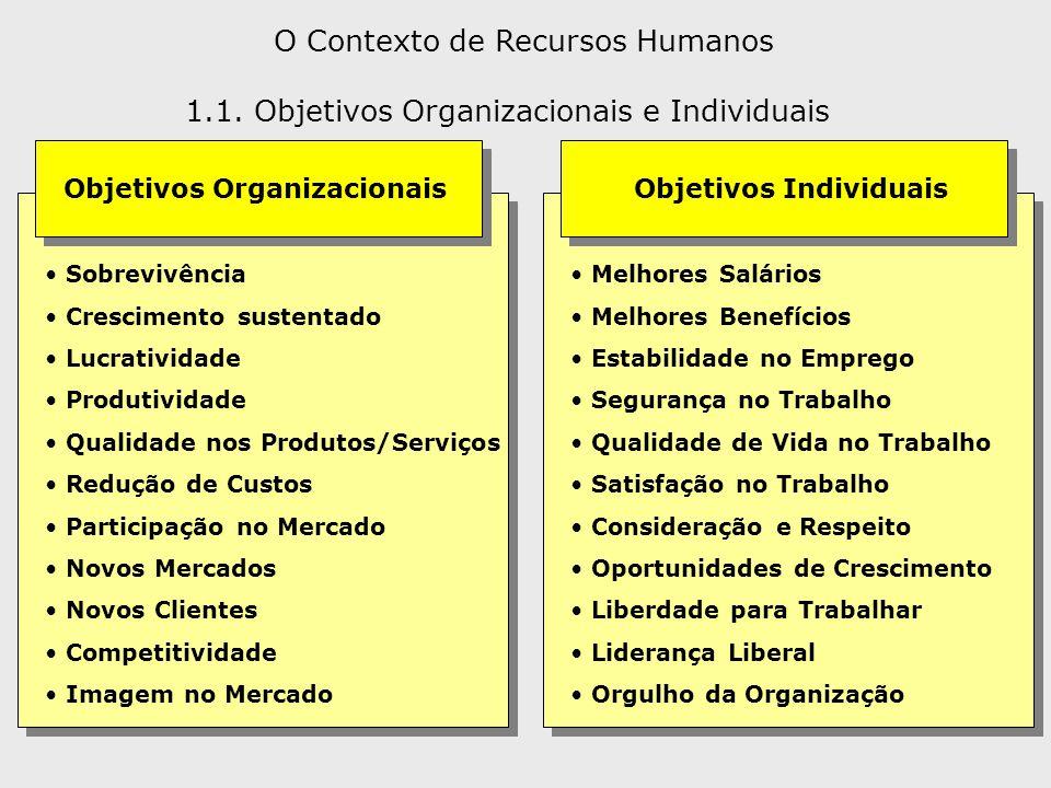 O Contexto de Recursos Humanos Objetivos Organizacionais Objetivos Individuais Sobrevivência Crescimento sustentado Lucratividade Produtividade Qualid