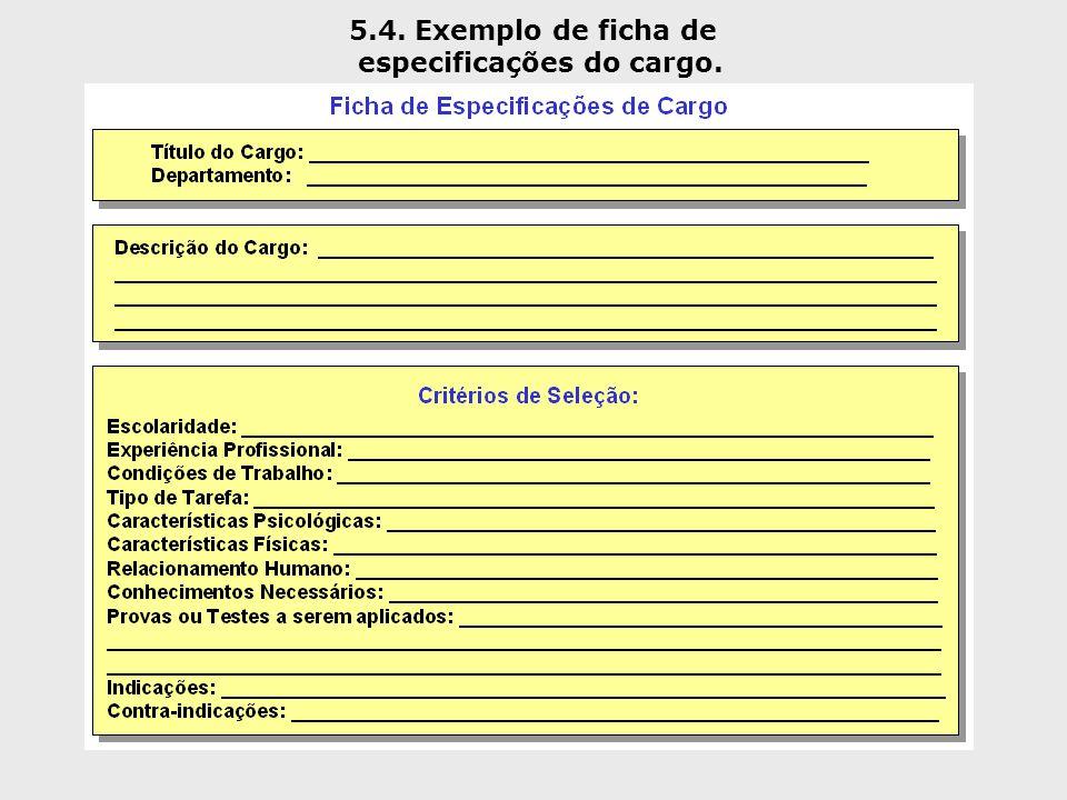 5.4. Exemplo de ficha de especificações do cargo.