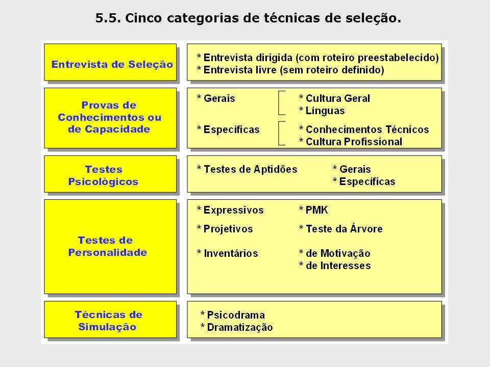 5.5. Cinco categorias de técnicas de seleção.