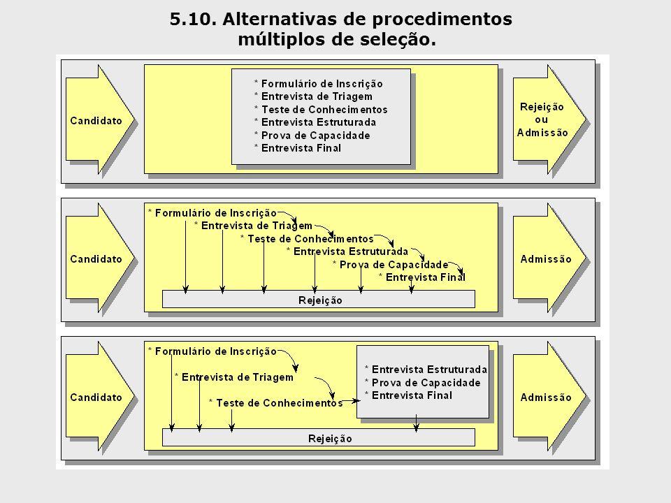 5.10. Alternativas de procedimentos múltiplos de seleção.