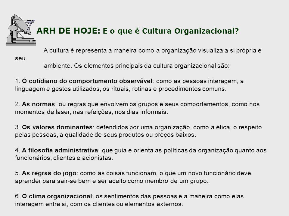 A cultura é representa a maneira como a organização visualiza a si própria e seu ambiente. Os elementos principais da cultura organizacional são: 1. O