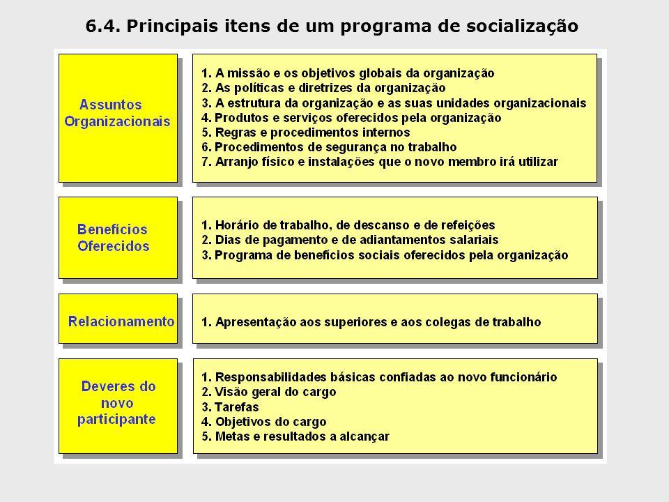 6.4. Principais itens de um programa de socialização