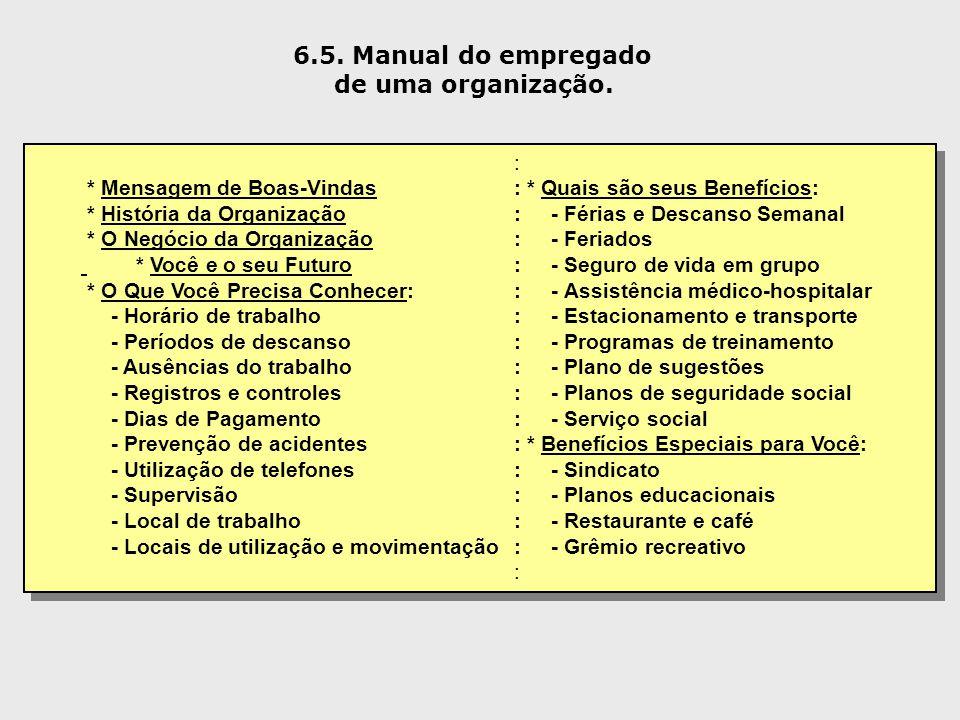 6.5. Manual do empregado de uma organização. : * Mensagem de Boas-Vindas: * Quais são seus Benefícios: * História da Organização: - Férias e Descanso