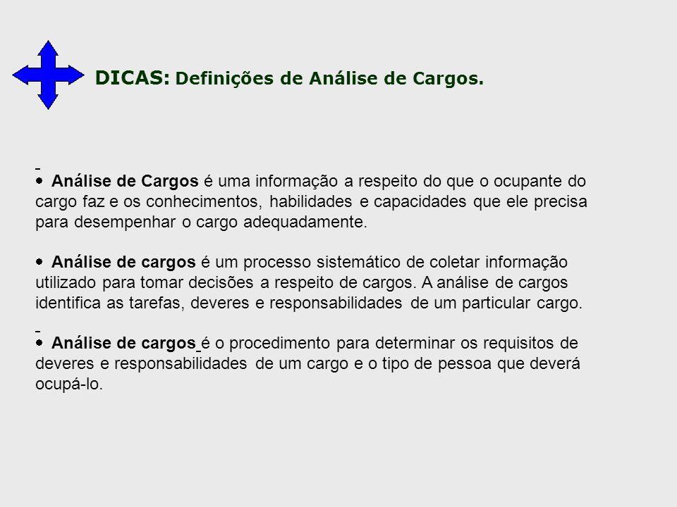  Análise de Cargos é uma informação a respeito do que o ocupante do cargo faz e os conhecimentos, habilidades e capacidades que ele precisa para dese