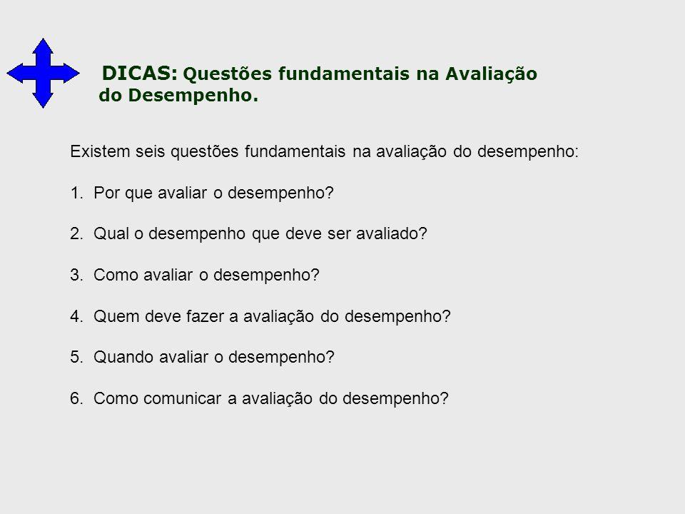 DICAS: Questões fundamentais na Avaliação do Desempenho. Existem seis questões fundamentais na avaliação do desempenho: 1. Por que avaliar o desempenh