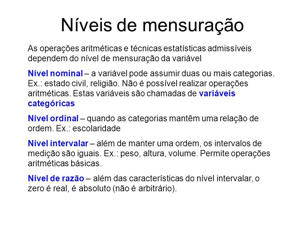 Níveis de mensuração As operações aritméticas e técnicas estatísticas admissíveis dependem do nível de mensuração da variável Nível nominal – a variável pode assumir duas ou mais categorias.