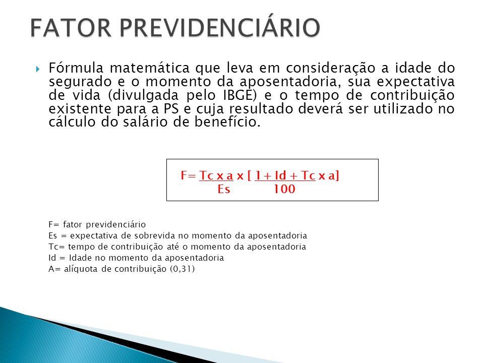  Fórmula matemática que leva em consideração a idade do segurado e o momento da aposentadoria, sua expectativa de vida (divulgada pelo IBGE) e o temp