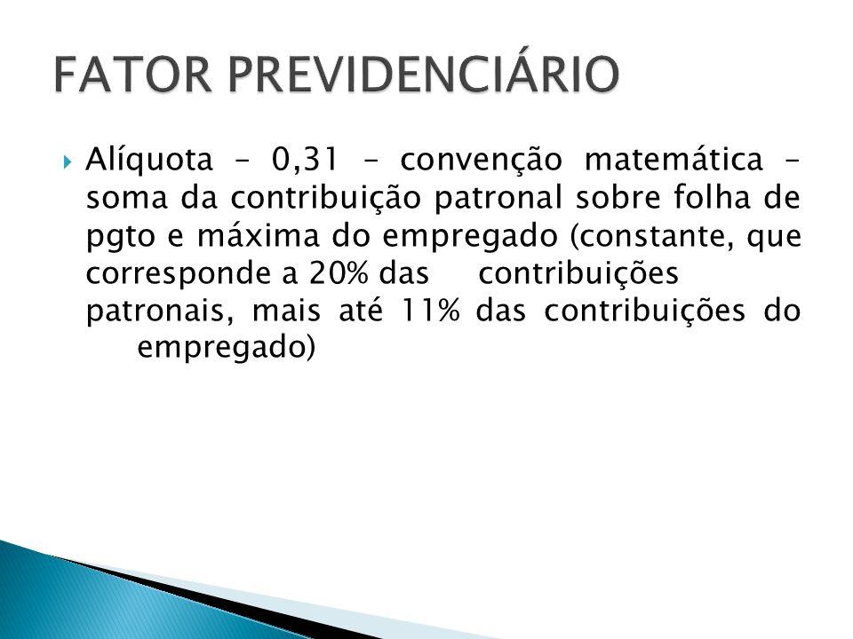  Alíquota – 0,31 – convenção matemática – soma da contribuição patronal sobre folha de pgto e máxima do empregado (constante, que corresponde a 20% d