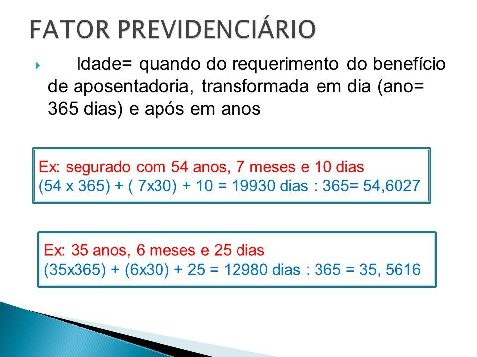  Idade= quando do requerimento do benefício de aposentadoria, transformada em dia (ano= 365 dias) e após em anos Tempo de contribuição = idem Ex: seg