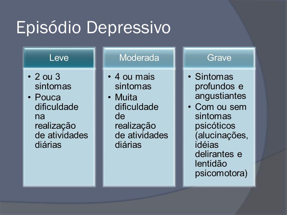 Episódio Depressivo Leve 2 ou 3 sintomas Pouca dificuldade na realização de atividades diárias Moderada 4 ou mais sintomas Muita dificuldade de realiz