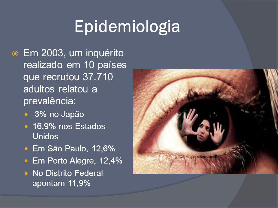 Epidemiologia  Em 2003, um inquérito realizado em 10 países que recrutou 37.710 adultos relatou a prevalência: 3% no Japão 16,9% nos Estados Unidos E