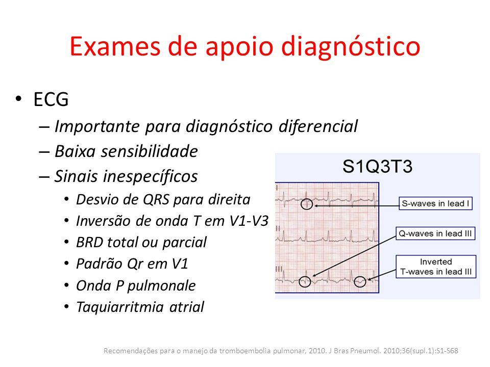Exames de apoio diagnóstico ECG – Importante para diagnóstico diferencial – Baixa sensibilidade – Sinais inespecíficos Desvio de QRS para direita Inve