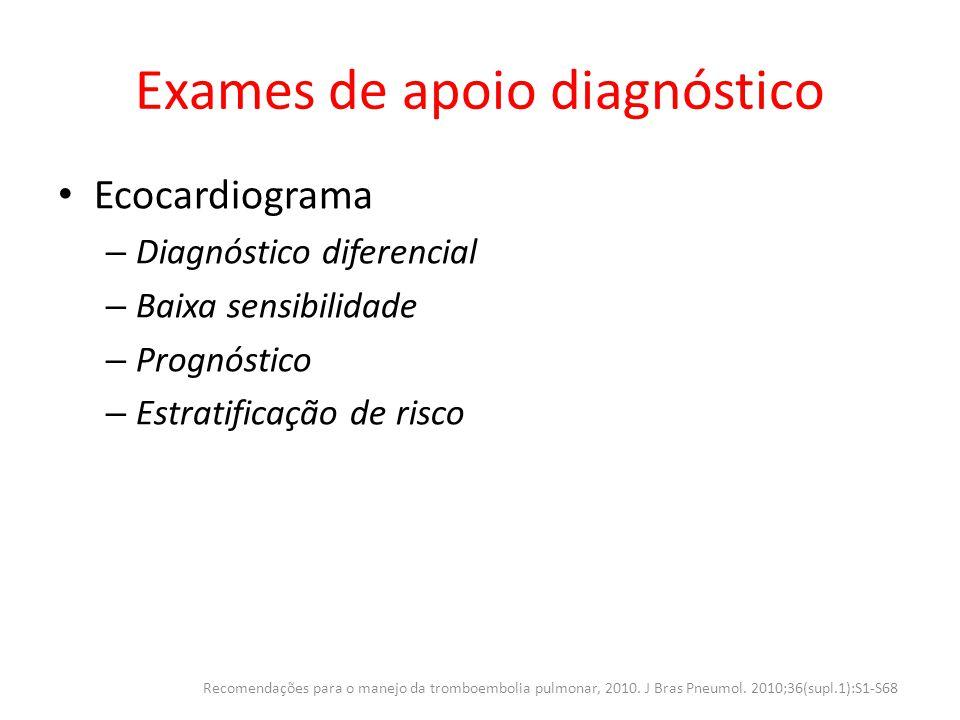 Exames de apoio diagnóstico Ecocardiograma – Diagnóstico diferencial – Baixa sensibilidade – Prognóstico – Estratificação de risco Recomendações para