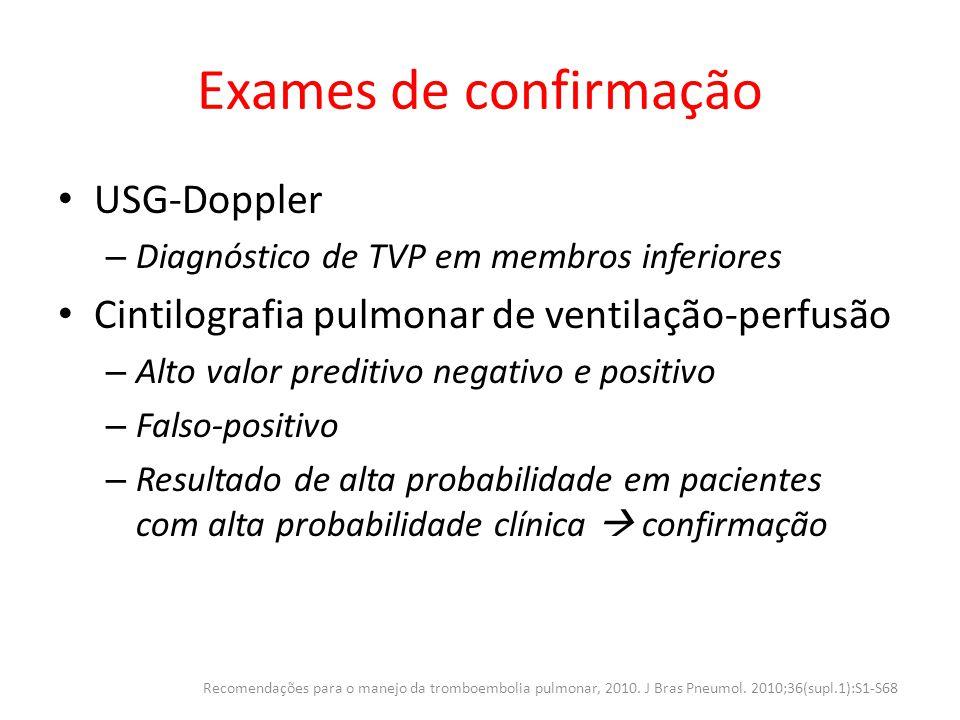 Exames de confirmação USG-Doppler – Diagnóstico de TVP em membros inferiores Cintilografia pulmonar de ventilação-perfusão – Alto valor preditivo nega