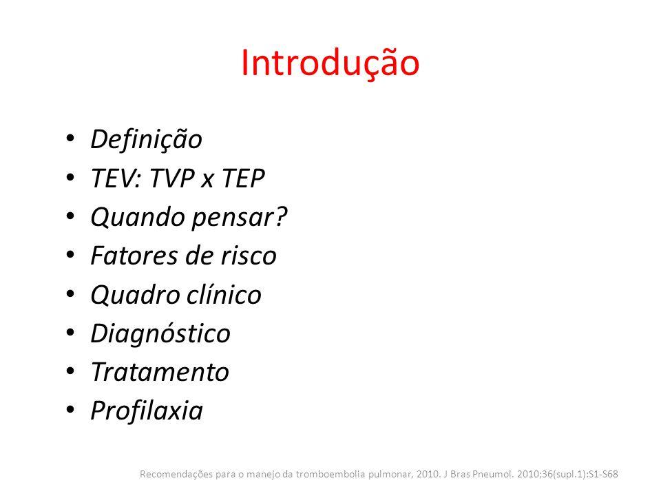 Epidemiologia Incidência real subestimada EUA – 100 / 100.000 habitantes (TEV) 1/3 TEP (12% - mortalidade no 1º mês) 2/3 TVP (6% - mortalidade no 1º mês) – Incidência (TEP) de 1 caso por 1.000 pessoas/ano – 200.000-300.000 hospitalizações por ano – Prevalência (TEP) varia de 3,4 – 14,8% Brasil – Prevalência (TEP) varia de 3,9 – 16,6% Recomendações para o manejo da tromboembolia pulmonar, 2010.