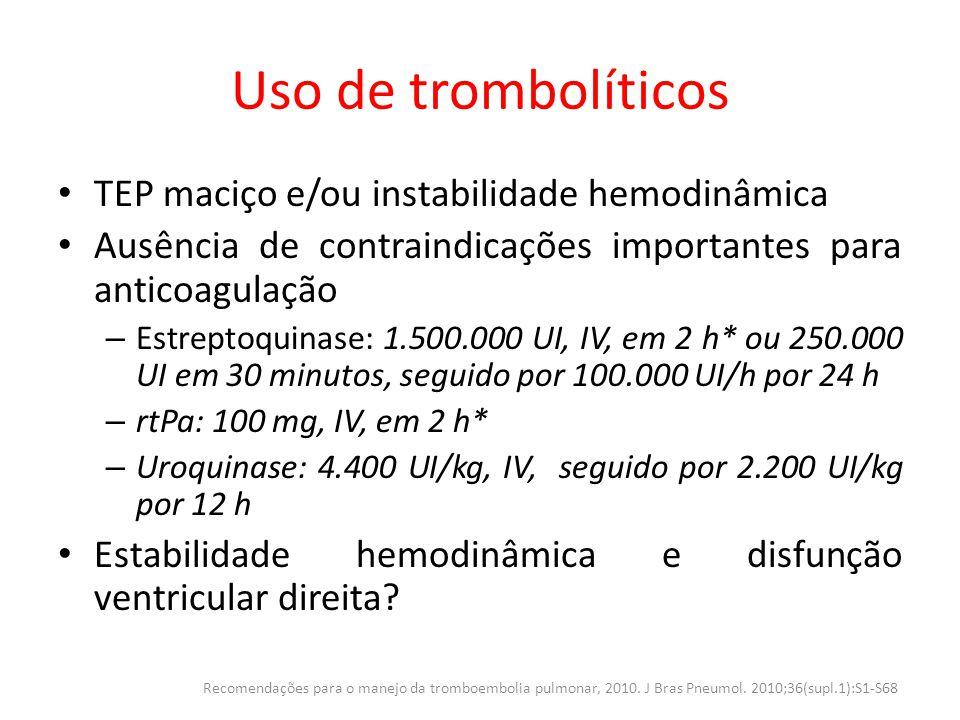 Uso de trombolíticos TEP maciço e/ou instabilidade hemodinâmica Ausência de contraindicações importantes para anticoagulação – Estreptoquinase: 1.500.