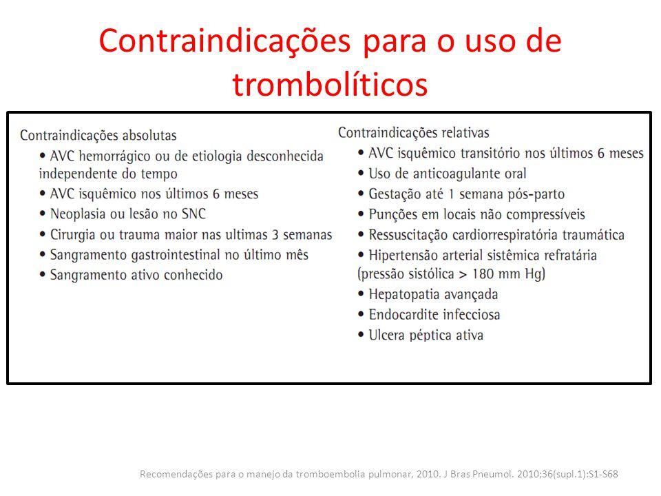 Contraindicações para o uso de trombolíticos Recomendações para o manejo da tromboembolia pulmonar, 2010. J Bras Pneumol. 2010;36(supl.1):S1-S68