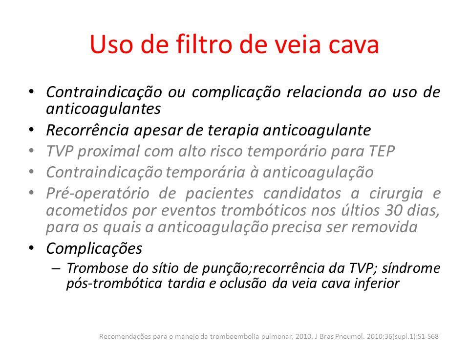 Uso de filtro de veia cava Contraindicação ou complicação relacionda ao uso de anticoagulantes Recorrência apesar de terapia anticoagulante TVP proxim
