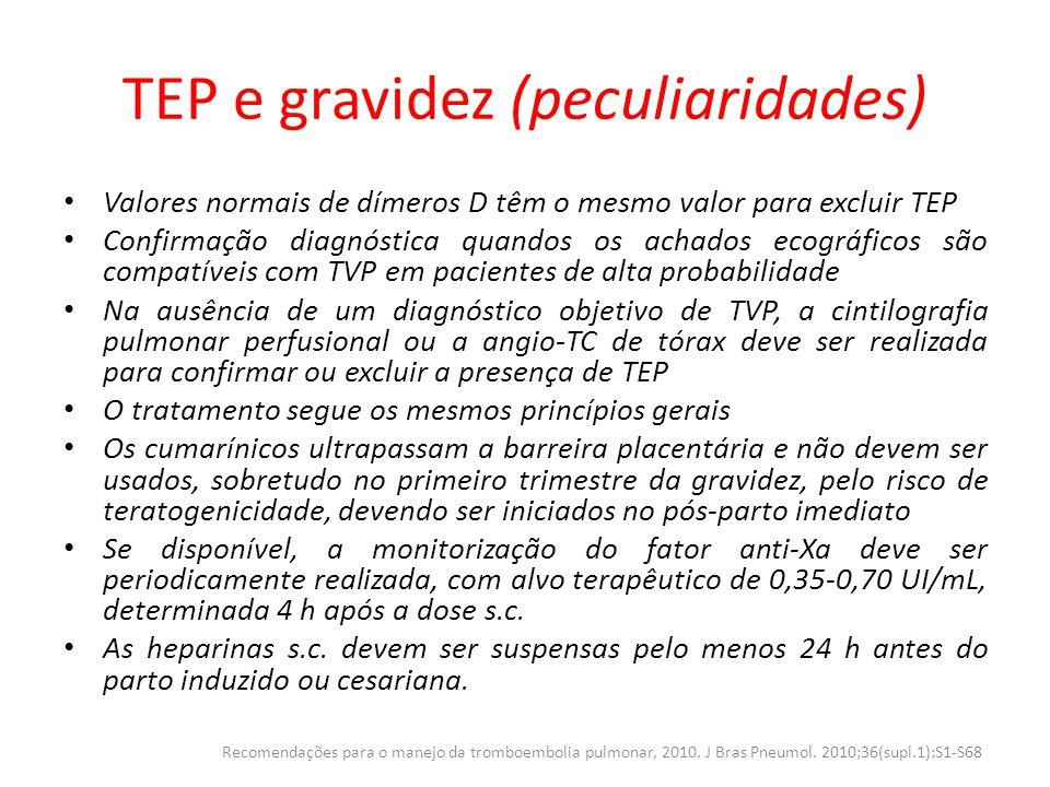 TEP e gravidez (peculiaridades) Valores normais de dímeros D têm o mesmo valor para excluir TEP Confirmação diagnóstica quandos os achados ecográficos
