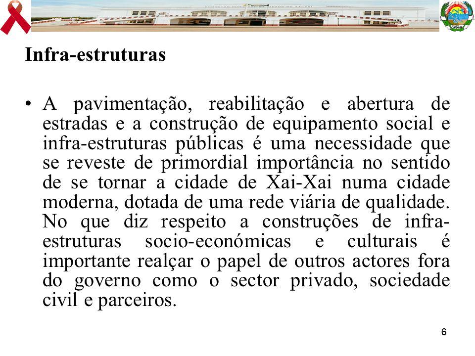 66 Infra-estruturas A pavimentação, reabilitação e abertura de estradas e a construção de equipamento social e infra-estruturas públicas é uma necessi