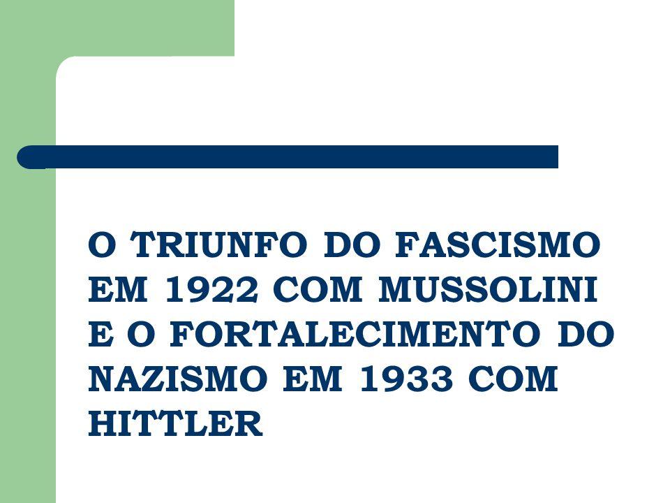 O TRIUNFO DO FASCISMO EM 1922 COM MUSSOLINI E O FORTALECIMENTO DO NAZISMO EM 1933 COM HITTLER