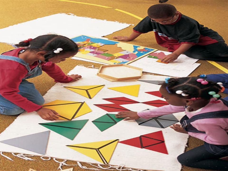 1. O material montessoriano pressupõe a análise, pela criança, de algumas de suas qualidades: cor, forma, peso e tamanho. A) Blocos (10, de 10cm a 1cm