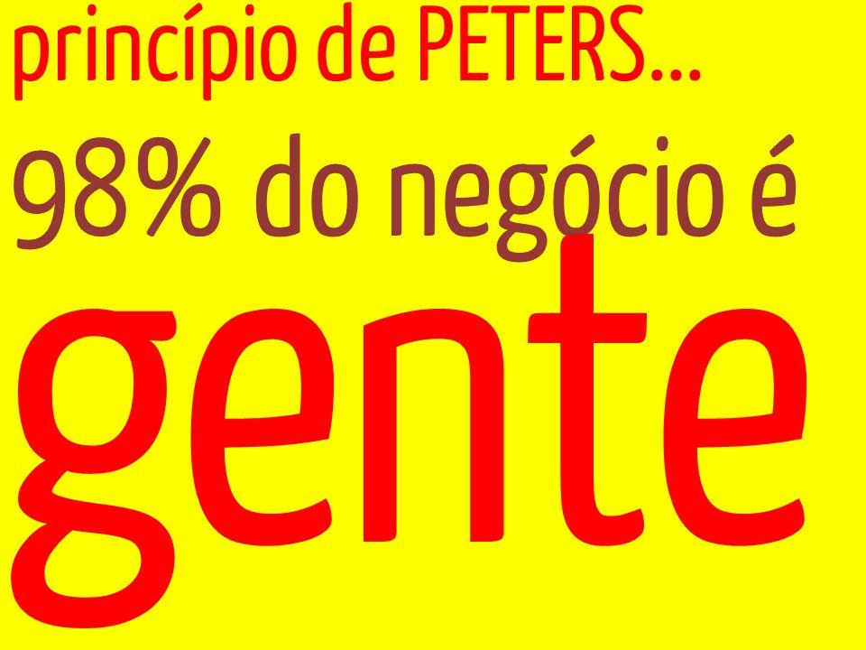 98% do negócio é princípio de PETERS... gente