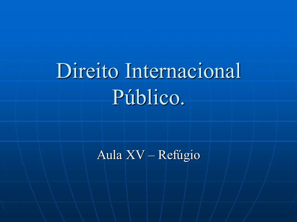 Direito Internacional Público. Aula XV – Refúgio