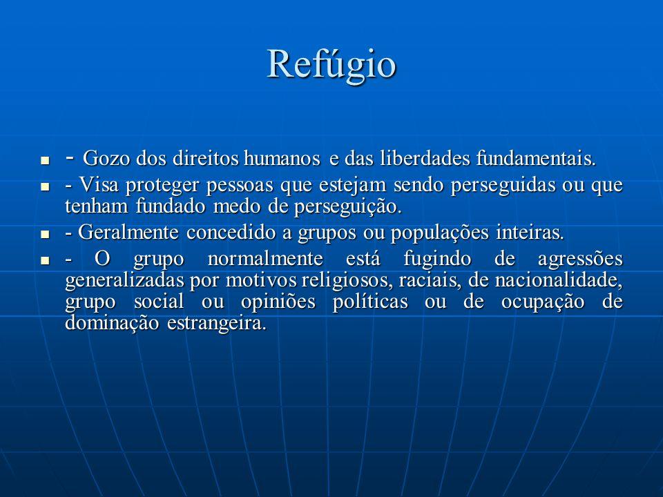 Refúgio - Gozo dos direitos humanos e das liberdades fundamentais. - Gozo dos direitos humanos e das liberdades fundamentais. - Visa proteger pessoas