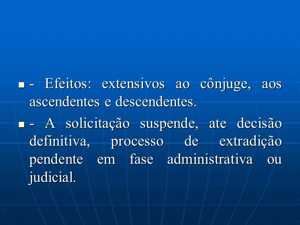 - Efeitos: extensivos ao cônjuge, aos ascendentes e descendentes. - Efeitos: extensivos ao cônjuge, aos ascendentes e descendentes. - A solicitação su