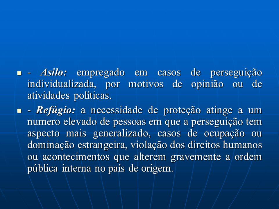 - Asilo: empregado em casos de perseguição individualizada, por motivos de opinião ou de atividades políticas. - Asilo: empregado em casos de persegui