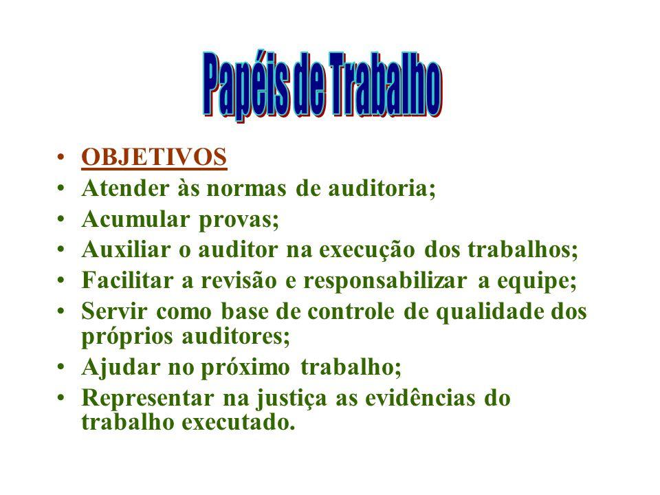 OBJETIVOS Atender às normas de auditoria; Acumular provas; Auxiliar o auditor na execução dos trabalhos; Facilitar a revisão e responsabilizar a equip