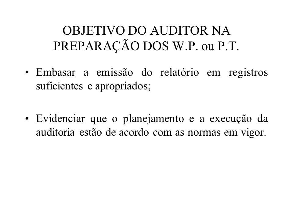 OBJETIVO DO AUDITOR NA PREPARAÇÃO DOS W.P. ou P.T. Embasar a emissão do relatório em registros suficientes e apropriados; Evidenciar que o planejament