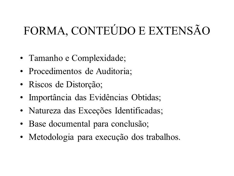 FORMA, CONTEÚDO E EXTENSÃO Tamanho e Complexidade; Procedimentos de Auditoria; Riscos de Distorção; Importância das Evidências Obtidas; Natureza das E