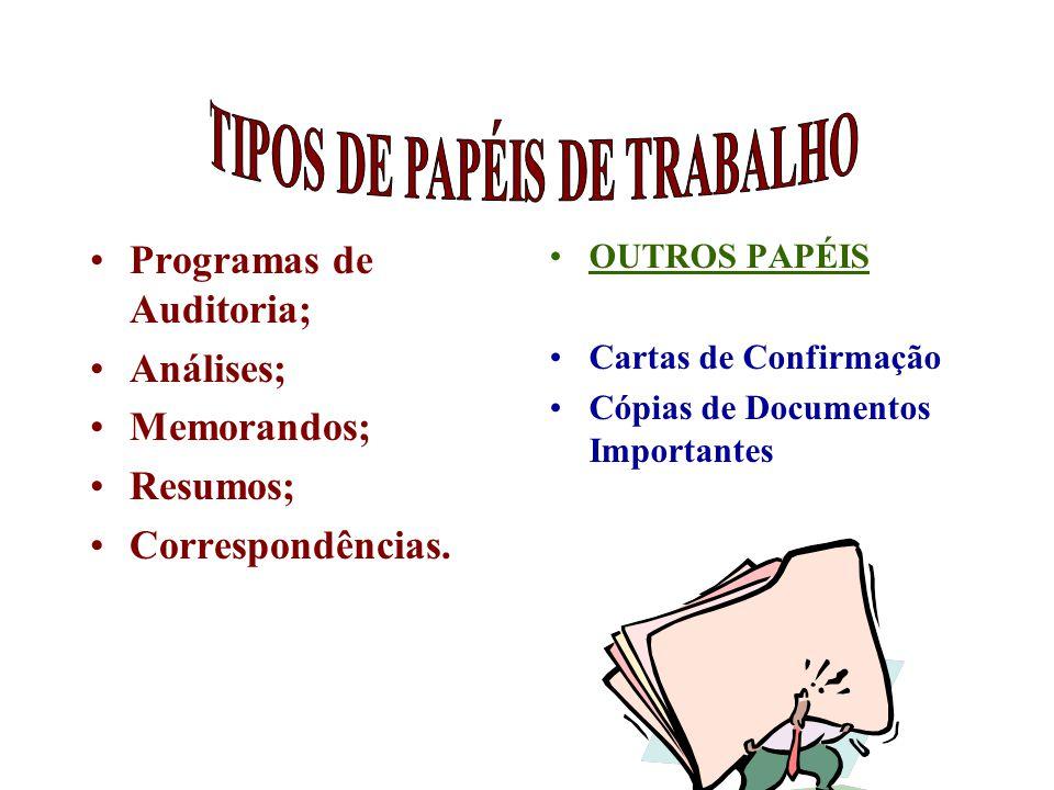 Programas de Auditoria; Análises; Memorandos; Resumos; Correspondências. OUTROS PAPÉIS Cartas de Confirmação Cópias de Documentos Importantes