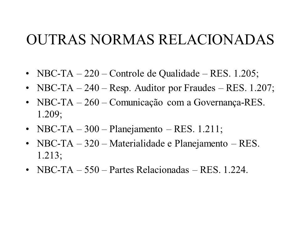 OUTRAS NORMAS RELACIONADAS NBC-TA – 220 – Controle de Qualidade – RES. 1.205; NBC-TA – 240 – Resp. Auditor por Fraudes – RES. 1.207; NBC-TA – 260 – Co