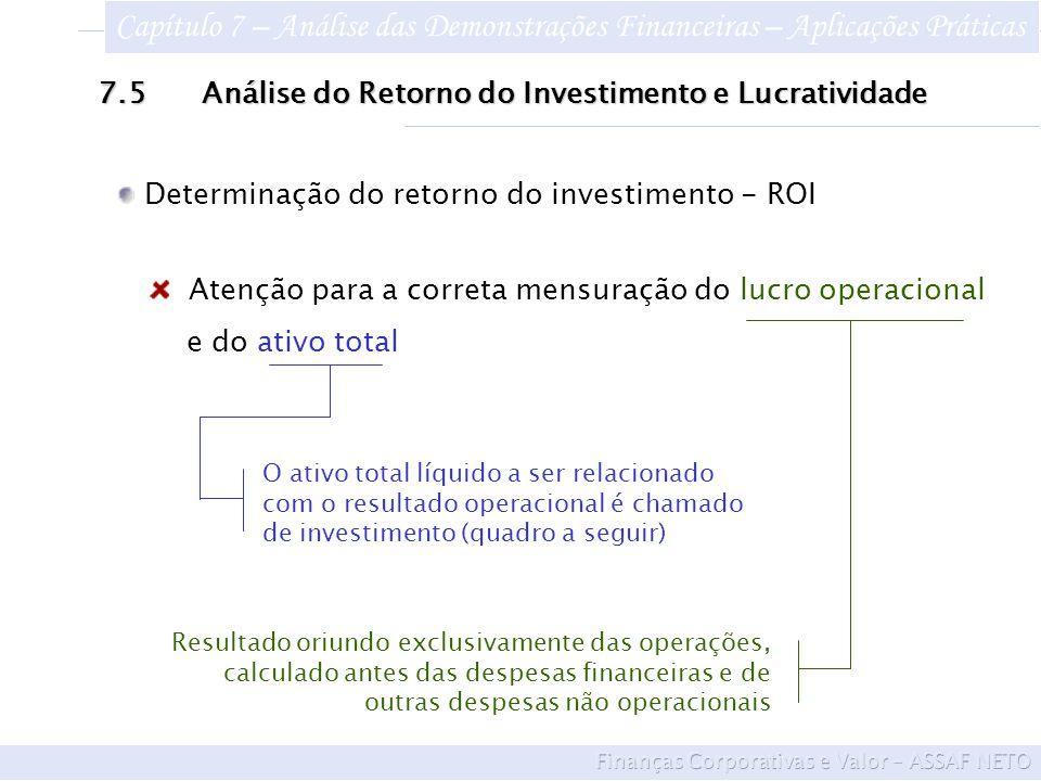 Atenção para a correta mensuração do lucro operacional e do ativo total Determinação do retorno do investimento - ROI 7.5Análise do Retorno do Investimento e Lucratividade Resultado oriundo exclusivamente das operações, calculado antes das despesas financeiras e de outras despesas não operacionais O ativo total líquido a ser relacionado com o resultado operacional é chamado de investimento (quadro a seguir) Capítulo 7 – Análise das Demonstrações Financeiras – Aplicações Práticas