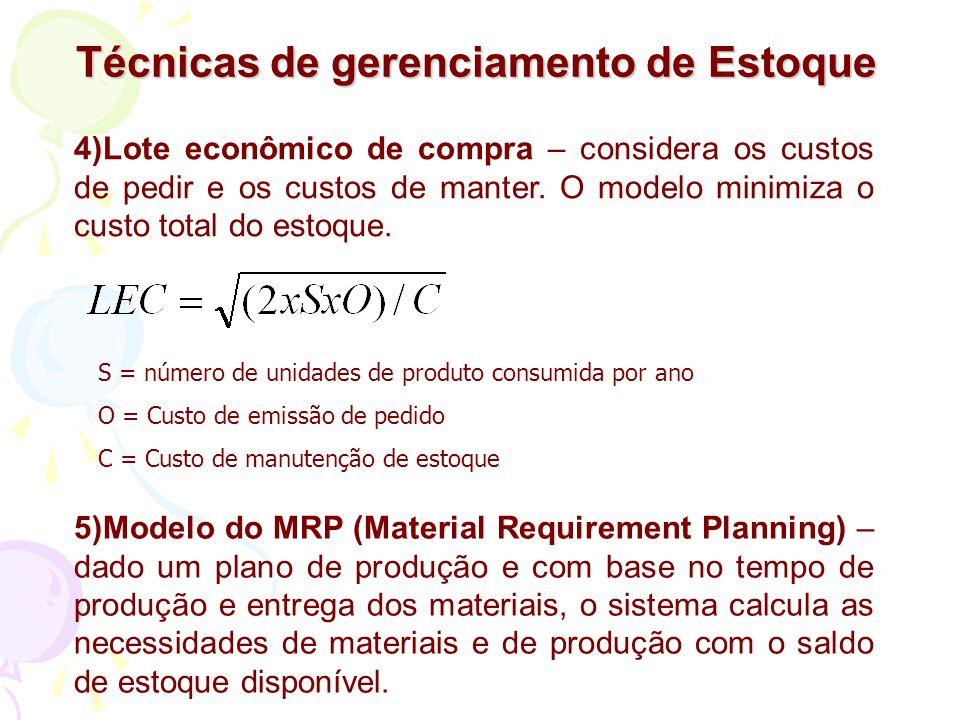 Técnicas de gerenciamento de Estoque 4)Lote econômico de compra – considera os custos de pedir e os custos de manter. O modelo minimiza o custo total