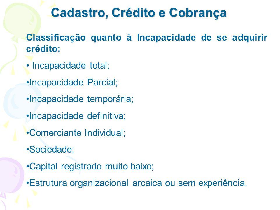 Cadastro, Crédito e Cobrança Classificação quanto à Incapacidade de se adquirir crédito: Incapacidade total; Incapacidade Parcial; Incapacidade tempor