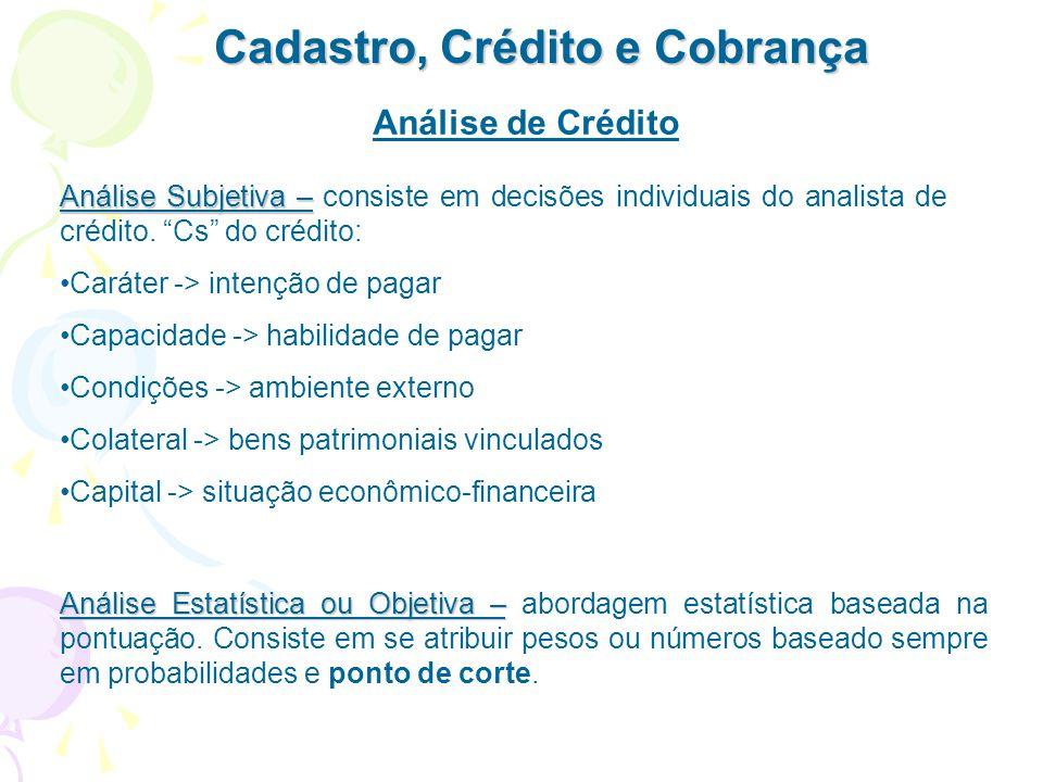 Cadastro, Crédito e Cobrança Cobrança – é uma política de administração dos recebíveis, para a recuperação total ou parcial do empréstimo, no menor tempo possível, com o menor custo.