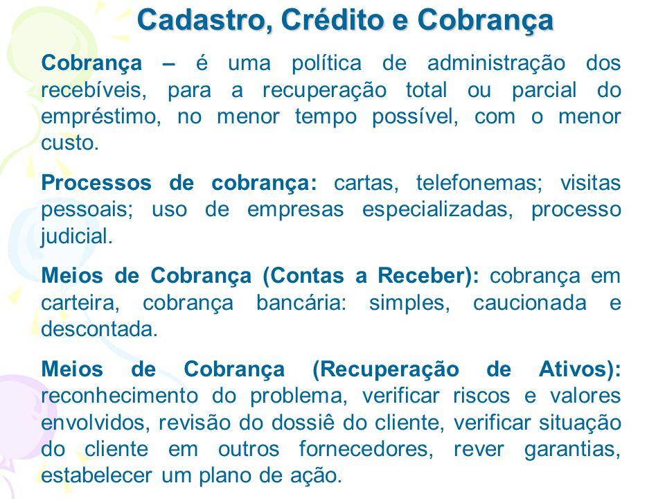 Cadastro, Crédito e Cobrança Cobrança – é uma política de administração dos recebíveis, para a recuperação total ou parcial do empréstimo, no menor te