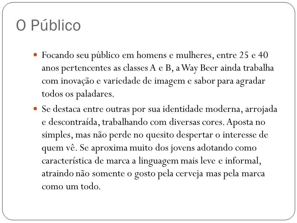 Focando seu público em homens e mulheres, entre 25 e 40 anos pertencentes as classes A e B, a Way Beer ainda trabalha com inovação e variedade de imag