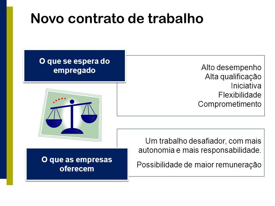 Novo contrato de trabalho Alto desempenho Alta qualificação Iniciativa Flexibilidade Comprometimento O que se espera do empregado Um trabalho desafiador, com mais autonomia e mais responsabilidade.